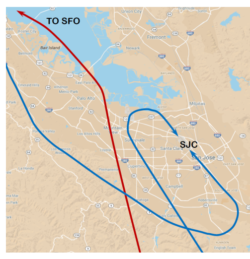 map with lines showing flight paths