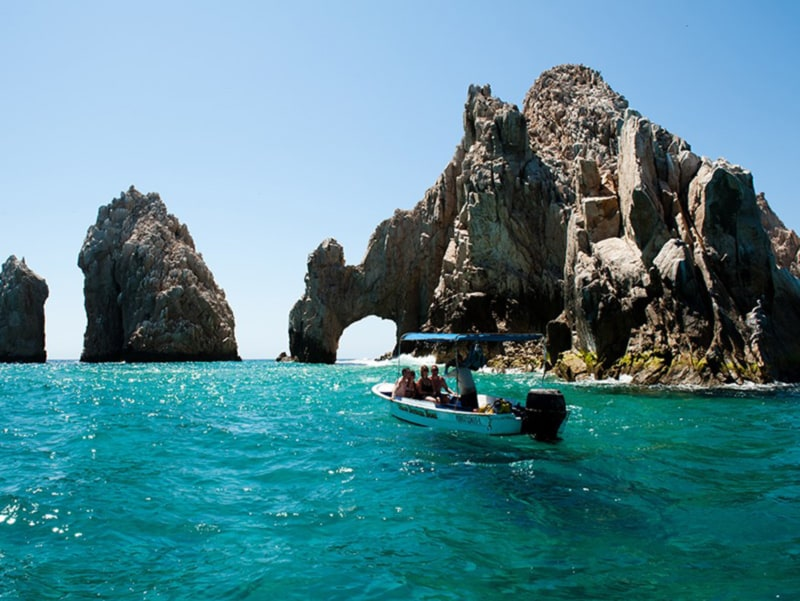 A boat on the ocean in Cabo.